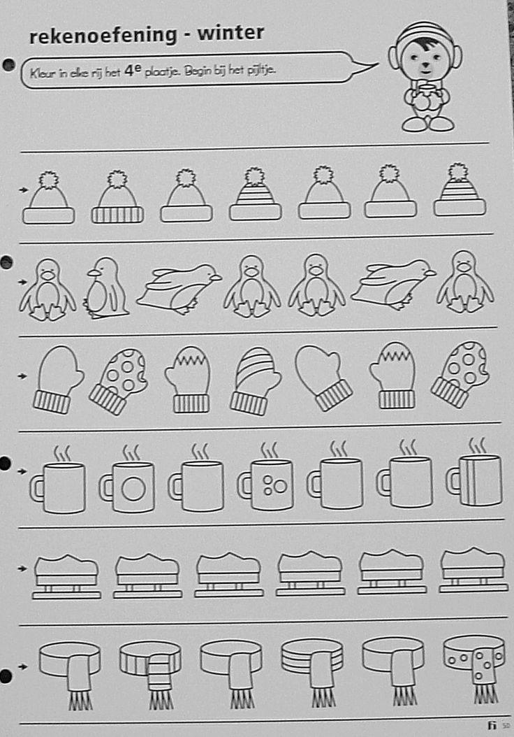 Werkblad rangtelwoorden: kleur in elke rij het 4de plaatje