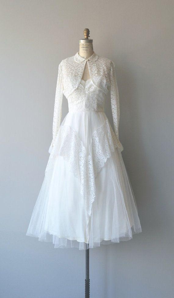 Nur gestern Kleid Hochzeit 1950er Jahre Vintage von DearGolden