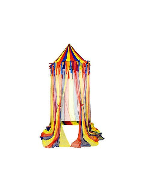 Create your own big top with this hanging circus canopy tent at your child's next carnival party. This nylon, primary colored circus canopy tent features sheer panels and has decorative nylon ribbons hanging from the canopy. Create a true carnival atmosphere with this festive circus canopy tent and party under the big top.