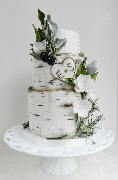 Wedding Cake with Birch and Blackberry Theme - Fall Wedding Inspiration From J. Schrecker Jewelry. Visit us at our website or at www.facebook.com/jschreckerjewelry
