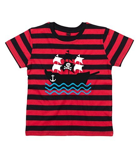 RED & BLACK STRIPED Children's T-Shirt PIRATE SHIP IMAGE.