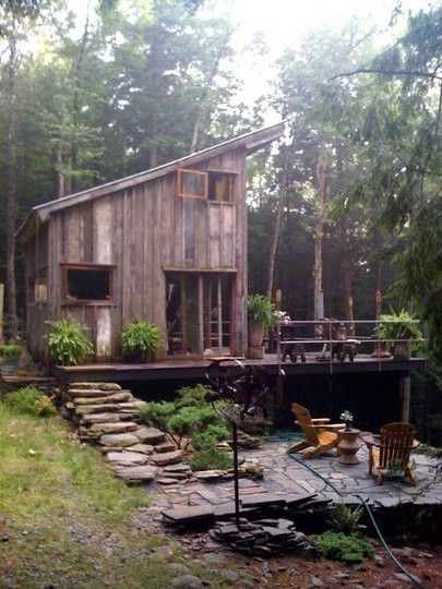 cabin with natural walkway and patio. Nice.