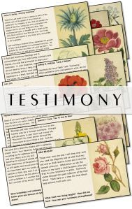 """T E S T I M O N Y- beautiful """"garden themed"""" cards with quotes about building your testimony."""