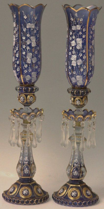 PAIR OF ANTIQUE PERSIAN BLUE CUT TO CLEAR GLASS LAMPS.