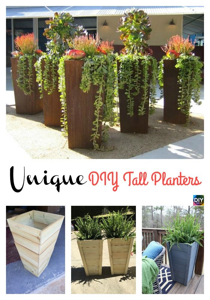 Diy Tall Planters Unique And Beautiful Tall Planters Diy Planters Outdoor Tall Outdoor Planters