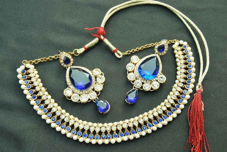 Kundan Necklace with Pearls & White & Blue stones & Long Tear-Drop Earrings with Blue and white stones