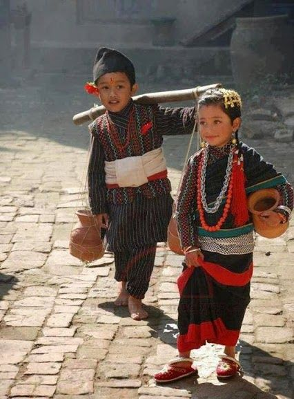Lovely photo of children in traditional Newari outfits.