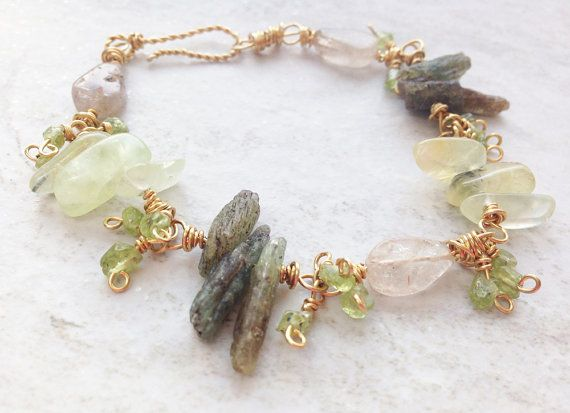 Green Kyanite Spiky Rustic Boho Bead Bracelet Prehnite stick beads, Peridot, Quartz, pure brass wire wrapped, green gemstone, gift for her