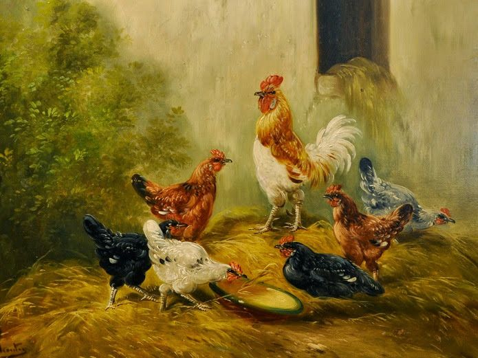 Tavuklar Ve Horoz Henry Schouten Yagli Boya Hayvan Tablolari Tablolar Hayvan Resimler