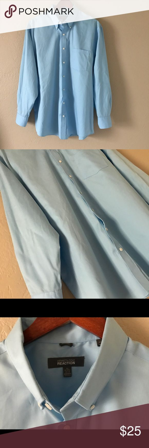 Kenneth Cole Reaction Non Iron Dress Shirt • XL Kenneth Cole Reaction Non Iron Dress Shirt • XL - 17-17 1/2, 34-35 - Regular Fit - wrinkle free design, just hang it up and wrinkles will fall right out - excellent condition - nice, light fabric - great light blue color will go with everything! Kenneth Cole Reaction Shirts Dress Shirts