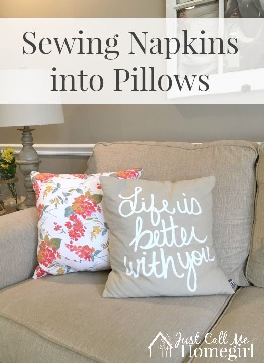 Making beautiful Spring pillows out of fabric napkins! So easy!