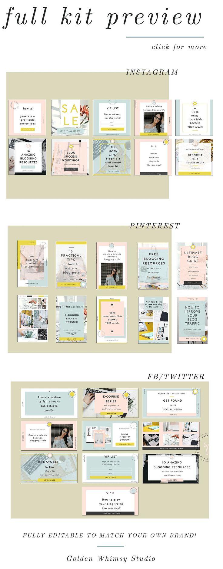 Infopreneurs Social Media Kit by Golden Whimsy Studio on @creativemarket