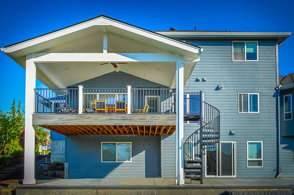 Second Story Deck And Patio Cover With Spiral Staircase Second Story Deck Covered Patio Covered Patio Design