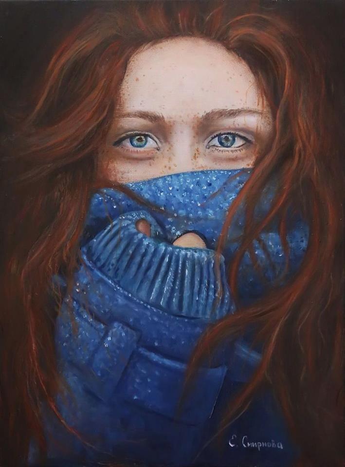 """""""Premio Charm of Art"""" 2016. -  Opera Pittorica: """"Ragazza con capelli rossi"""" -  Artista: Evgenia Smirnova - 30x40, olio su tela."""