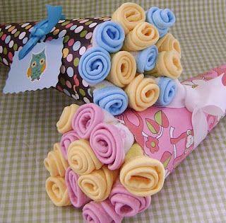 DIY washcloth flower bouquet, baby shower gift!!