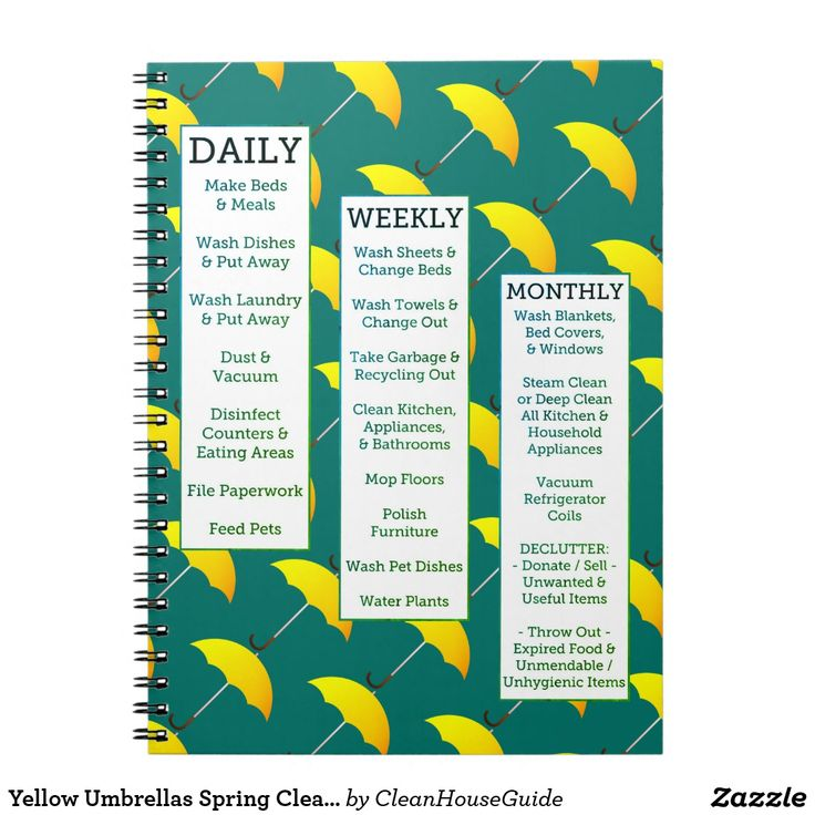 Yellow Umbrellas Spring Cleaning Guide Notebook | Zazzle.com
