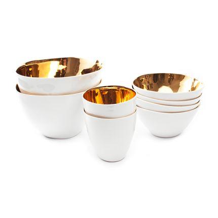 Guld og hvide skåle