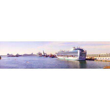 MS Island Princess cruise ship at a port Port Everglades Broward County Florida USA Canvas Art - Panoramic Images (36 x 12)