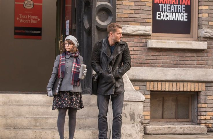 "Milana Vayntrub and Justin Hartley on NBC TV Show ""This is Us""."