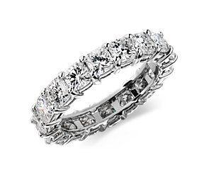Cushion-Cut Diamond Eternity Ring in Platinum (4 ct. tw.) #BlueNile
