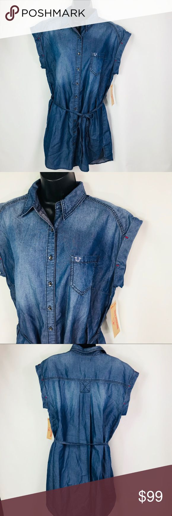 """True Religion Short Sleeve Denim Shirt Dress Sz L Katie Shirt Dress Sz L Tied in the front with the logo on the front pocket 61% cotton / 39% lyocell Pit to Pit - 20"""" Length - 35"""" True Religion Dresses"""