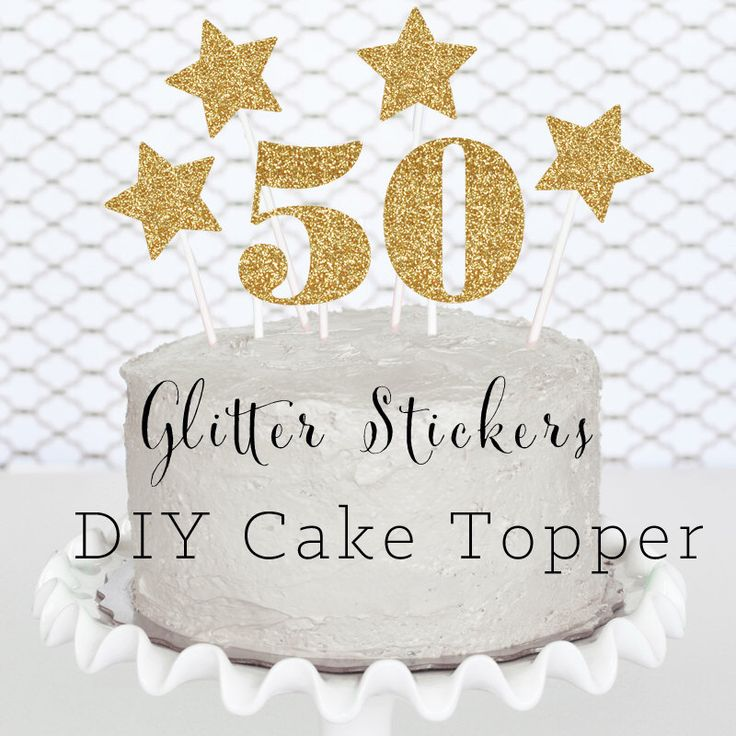 50 Cake Topper - 50th Birthday Cake Topper - 50th Birthday Party Ideas - 50th Birthday Decorations (EB3055) set of 6 custom stickers by ModParty on Etsy https://www.etsy.com/listing/208167721/50-cake-topper-50th-birthday-cake-topper