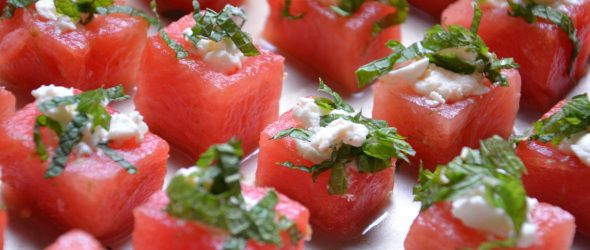Lime Infused Watermelon with Minted Feta. This would be perfect during summer infused with tequila and lime, sans the feta and just the mint.