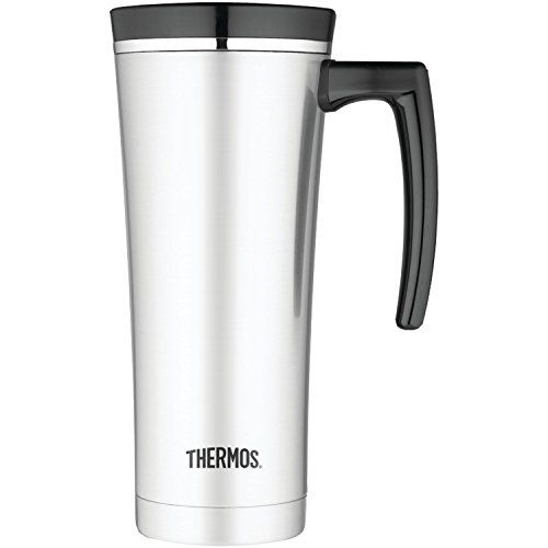 Thermos 16 Ounce Vacuum Insulated Travel Mug, Black - Introducing Sipp by Thermos. The Sipp Thermos line of products combines sleek style with unique functional features. The Thermos patented vacuum stainless steel mug will keep hot for 5 hours and cold for 9 hours. The Eastman Tritan lids are BPA free and have a built- in tea hook for tea bags or m...