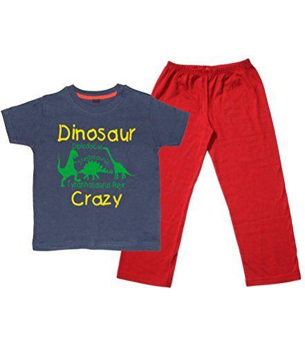 Children's Navy T-Shirt & Red Long Pants Pyjama Set 'DINOSAUR CRAZY'