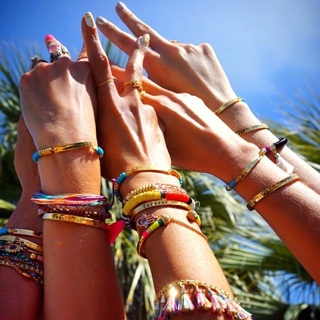 Pin for Later: Let Alessandra Ambrosio's Coachella Style Inspire Your Festival Looks This Year Colorful Bracelets