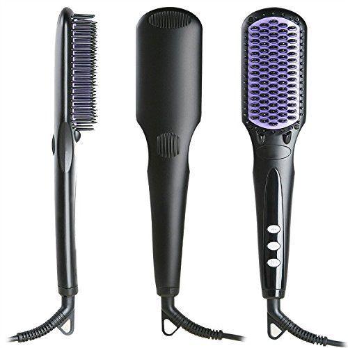 AmoVee® LCD Digital Hair Straightener Brush Ceramic Tourmaline Iron, Detangling Brush *** Click on the image for additional details.