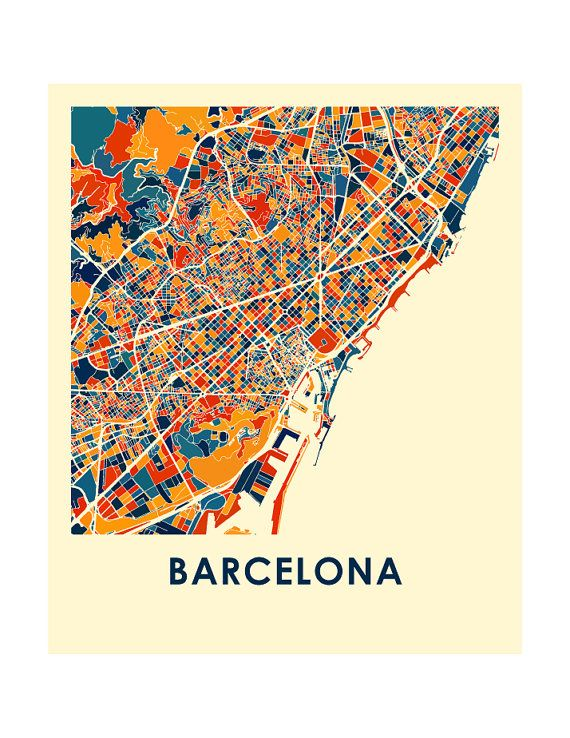Please consult our holiday schedule to make sure your order arrives on time for the occasion: https://ilikemaps.com/pages/holidays   Our Barcelona map print illustrates the geography and patterns of this great metropolis.  This bold and colorful map print will fit your decor, for home or office.  The Barcelona map is printed in high saturation ink on bright white gloss paper. Print size higher than 13x19 are printed on semi-gloss paper.  The data used to create this map co...