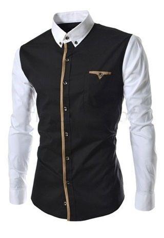 Camisa Casual Moderna en Dos Colores - Detalles Frontales y en el Bolsillo - Negra y Gris