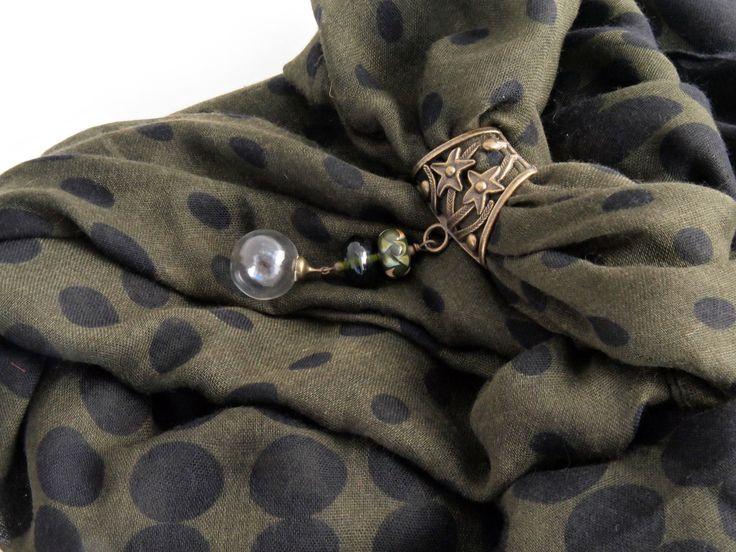 foulard bijoux perle verre soufflé au chalumeau pois noir kaki