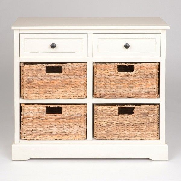 soft ivory 6drawer storage chest with baskets 260 liked on polyvore