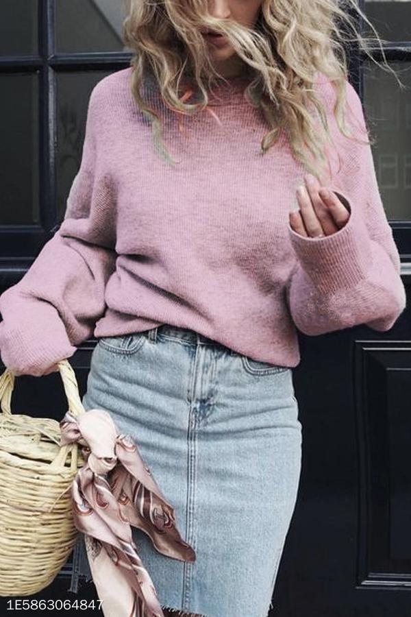 Crew Neck Plain Puff Sleeve Sweaters