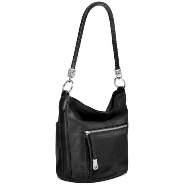Brighton Black Beck Organizer Bucket Bag ($360) ❤ liked on Polyvore featuring bags, handbags, shoulder bags, black, silver handbags, bucket bags, silver shoulder bag, shoulder strap purses and silver purse