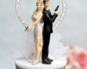 For the Bonnie and Clyde outlaw Bride and Groom or the CIA couple....Super Sexy Spy Rhinestone Heart Wedding Cake Topper