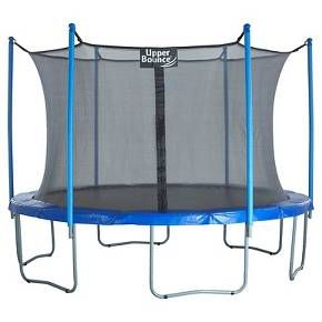 Bring the best outdoor fun to your family with this new Upper Bounce Complete Trampoline & Safety Enclosure Set!<br>Our Easy Assemble/Disassemble Feature Trampolines are especially designed to make it easier taking apart the poles for protection during the winter without using any hardware and will save you from replacing trampoline parts too often. The edges of the netting is reinforced for double strenght resulting in a stronger, longer lasting life span. 15 FT. Trampoline &a...