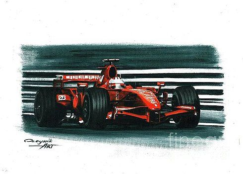 2007, Ferrari F2007,  Kimi Raikkonen,  Felipe Massa,  Ferrari F1 collection ART by Artem Oleynik. This collection demonstrating Ferrari F1 racing cars since 1950 to 2016 and includes 96 pictures in oil on canvas. The size of each original picture is 25 x 35 cm.