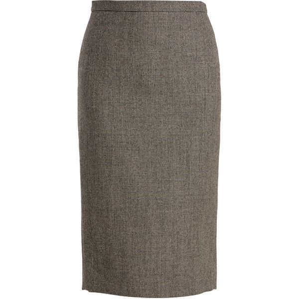 Rochas Hound's-tooth wool-blend pencil skirt ($710) ❤ liked on Polyvore featuring skirts, pencil skirt, rochas, wool blend skirt, patterned pencil skirt and brown pencil skirt