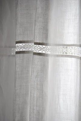 {Details} Linen Curtain With Lace Insert