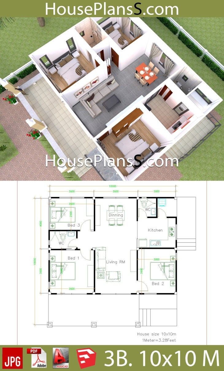House Design Plans 10x10 With 3 Bedrooms Full Interior House Plans 3d Small House Design Plans Simple House Design House Construction Plan