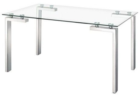"ZM Home Modern Tempered Glass and Stainless Steel Tube Leg 59"" Rectangular Dining Table"