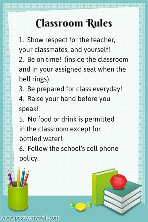 printable classroom rules high school