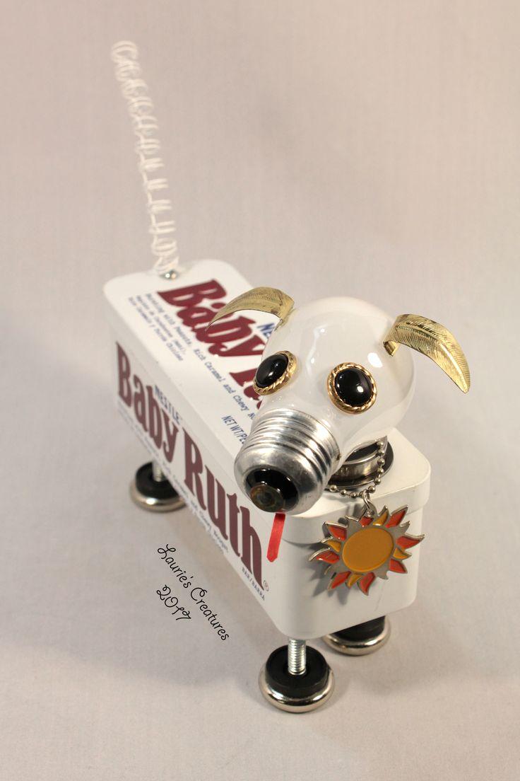 """Baby Ruth"" ~ Found object, junk art dog created b…"