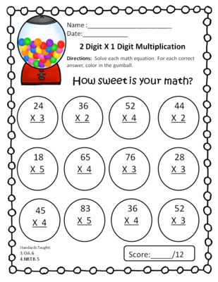 2 Digit by 1 Digit Multiplication Freebie from Third Grade