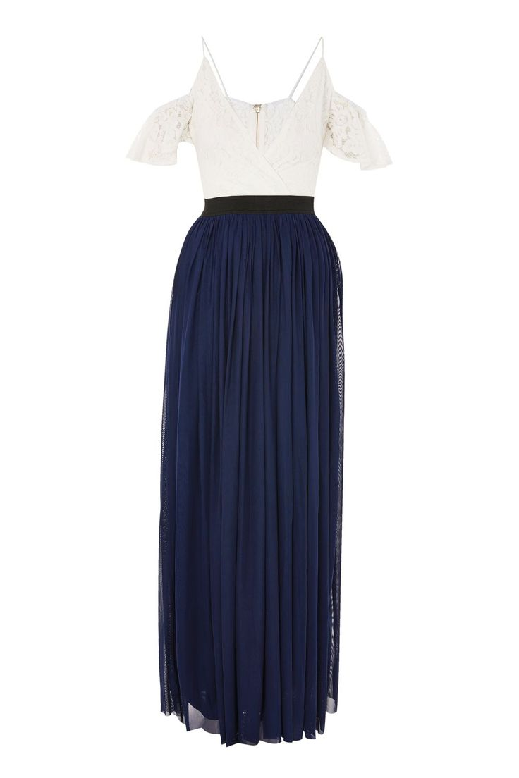 **Navy Lace Cold Shoulder Maxi Dress by Rare - Clothing- Topshop Europe