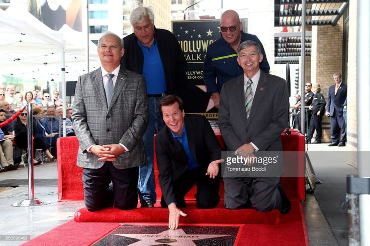 Jay Leno, Jeff Dunham, Howie Mandel and Leron Gubler attend a ceremony honoring Jeff Dunham with a Star On The Hollywood Walk Of Fame on September 21, 2017 in Hollywood, California.