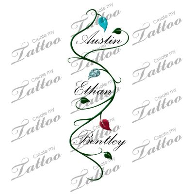 Children's Name with Vine Tattoo. Wish I wasn't so afraid of needles! I love this!
